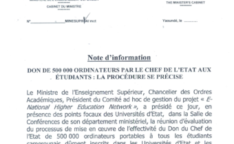 Don d'ordinateurs par le Chef de l'Etat aux étudiants